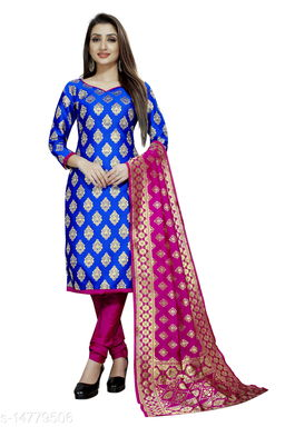 Traditional weaves brocade banarasi silk blue colour unstitched dress material