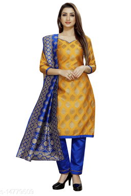 Traditional weaves brocade banarasi silk mustard colour unstitched dress material