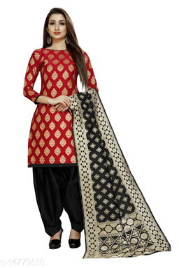 Traditional weaves brocade banarasi silk red colour unstitched dress material