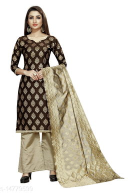 Traditional weaves brocade banarasi silk brown colour unstitched dress material