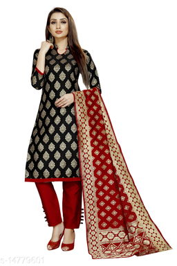 Traditional weaves brocade banarasi silk black colour unstitched dress material