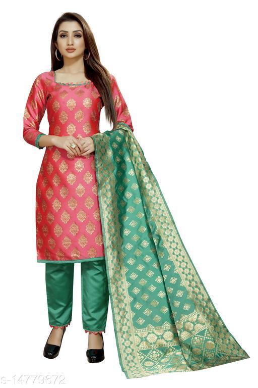 Traditional weaves brocade banarasi silk gajri colour unstitched dress material