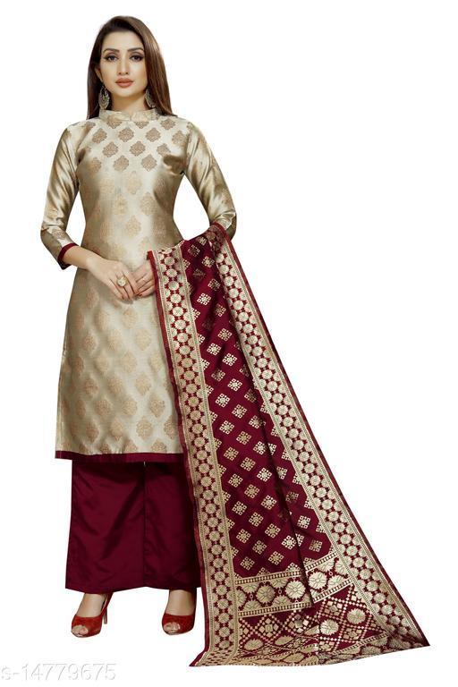 Traditional weaves brocade banarasi silk beige colour unstitched dress material