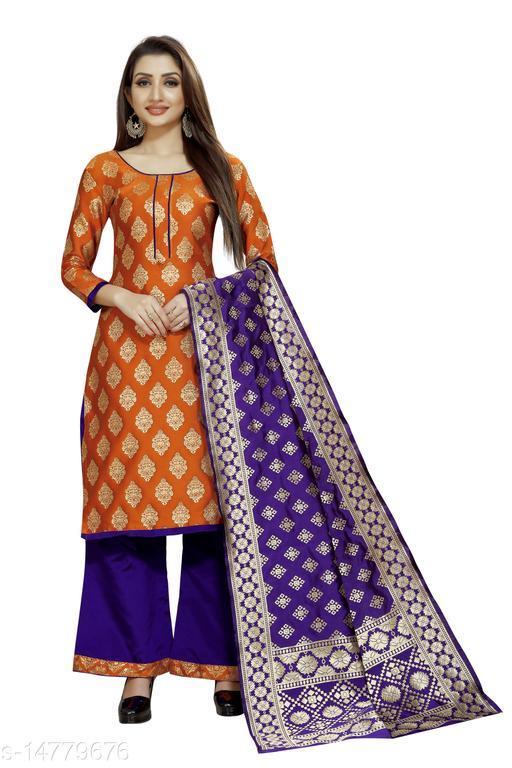 Traditional weaves brocade banarasi silk orange colour unstitched dress material