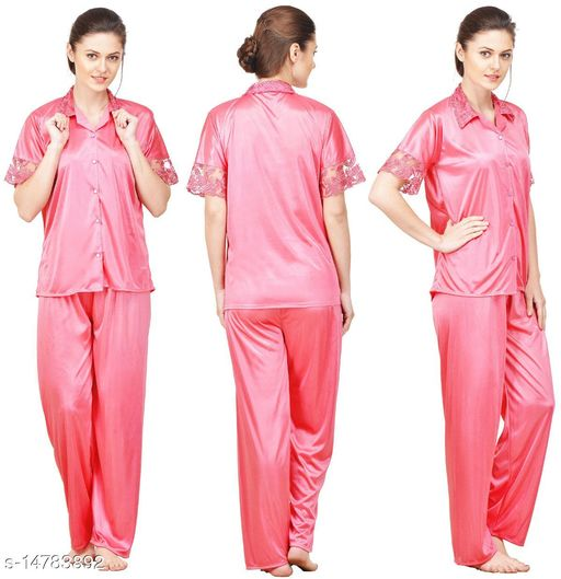 Silky Satin Top & Pyjama Set - Pink (Size - Free )