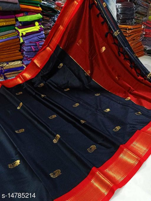 Best Collection Latest Designer Paithani Designer Black Color Paithnani silk saree with zari border pattern
