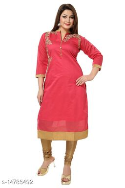 Women's Chanderi Cotton Pink Straight Floral Embroidered Kurti