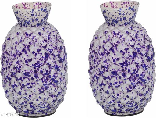 1st TimeColorful Glass Flower Vase Hand Decorative With New & Stylish Shape(Set Of Two)-TP30