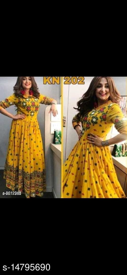Women Rayon Angrakha Printed Yellow Kurti