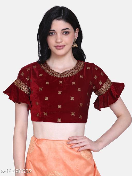 Aarrah Maroon Color Velvet Blouse