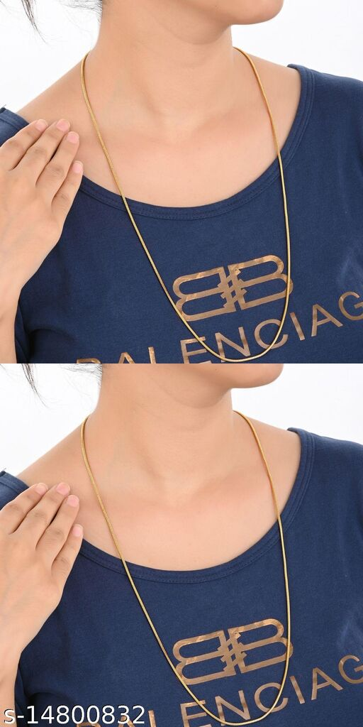 AanyaCentric Combo of 2 Gold Plated Necklace Chains