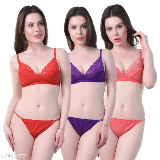 Women's Lace Cotton Lingerie Sets