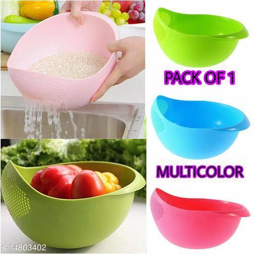Climya Bowl Strainer - Rice, Fruits, Pulses, Vegetables, Noodles Bowl Strainer/Pack of 1-(Multi Color)_Matte Size: 22 X 17 X 9.5 (L X W X H cm)