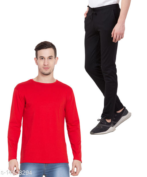 Haoser Red Tshirt With Black Track Pant For Men's, Daily Use Stylish Set