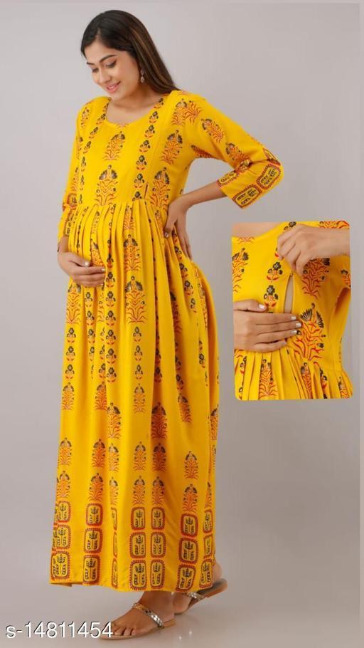 Women Rayon Maternity Printed Yellow Kurti