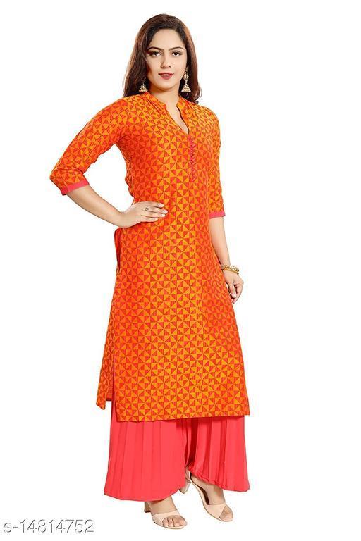 Women Chanderi Cotton Straight Printed Orange Kurti