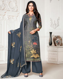 Rajnandini Women's Peach Pure Muslin Embroidered Unstitched Salwar Suit Material