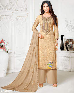 Rajnandini Women's Charcoal Pure Muslin Embroidered Unstitched Salwar Suit Material
