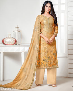Rajnandini Women's Grey Pure Muslin Embroidered Unstitched Salwar Suit Material