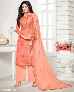 Rajnandini Women's Olive Pure Muslin Embroidered Unstitched Salwar Suit Material