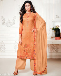 Rajnandini Women's Brown Pure Muslin Embroidered Unstitched Salwar Suit Material