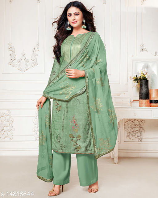 Rajnandini Women's Beige Pure Muslin Embroidered Unstitched Salwar Suit Material