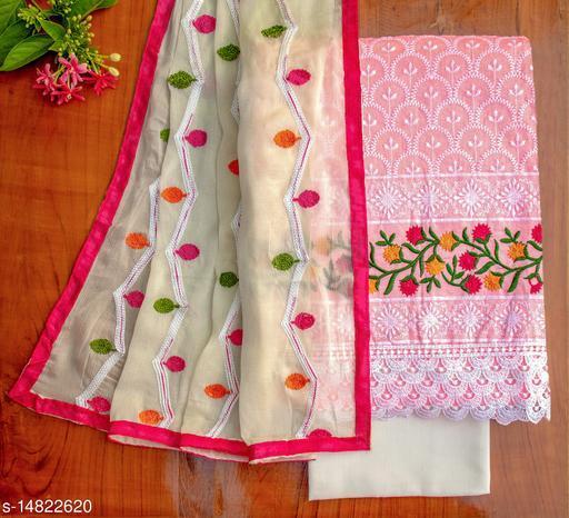 Tulip Prints Pink Chanderi Cotton Lucknowi Chikankari Unstiched Dress Material
