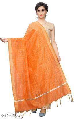 Cotton Silk Checkered DARK ORANGE Women Dupatta