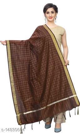 Cotton Silk Checkered Brown Women Dupatta