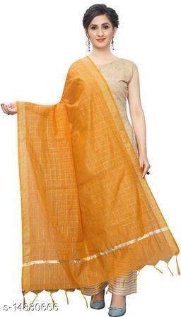 Cotton Silk Checkered ORANGE Women Dupatta