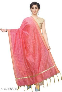 Cotton Silk Checkered PINK Women Dupatta