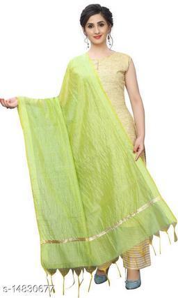 Cotton Silk Checkered GRREN Women Dupatta