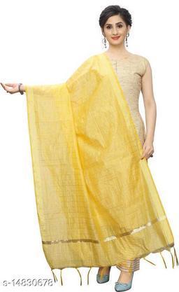 Cotton Silk Checkered YELLOW Women Dupatta