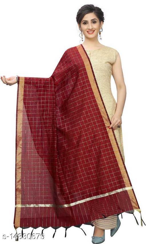 Cotton Silk Checkered MAROON Women Dupatta