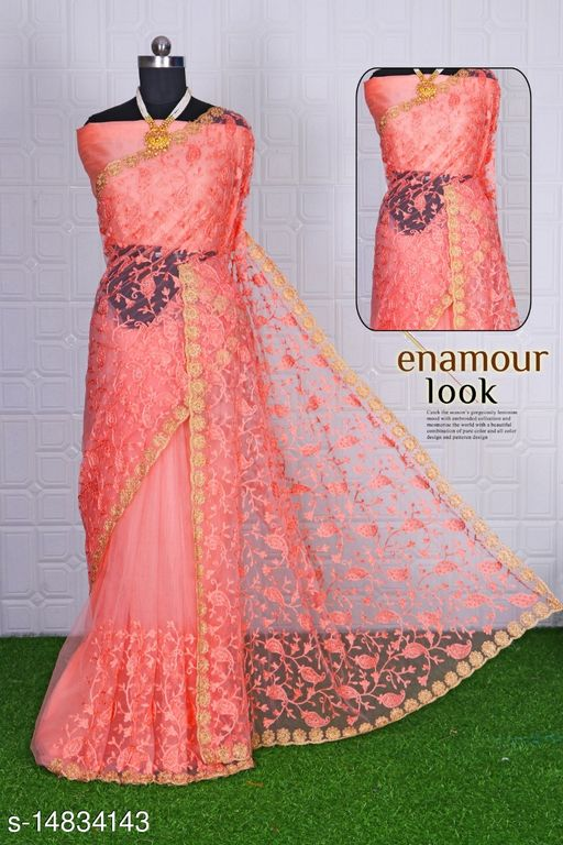 NEW SOFT NET EMBRODERED SAREE WITH STONE