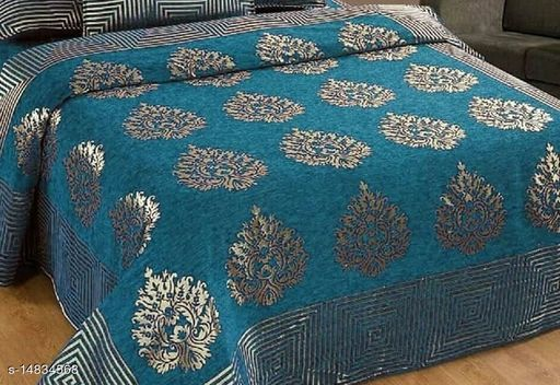 Rattan Furnishing Velvet Embroidery   1 Double Bedsheet With 2  Pillow Cover ( Size : Bedsheet 90x100 , Pillow Cover 16x28)