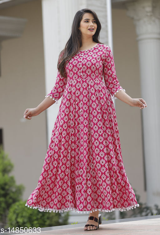 RAYON BEAUTIFUL PRINTED LONG GOWN WITH BORDAR POMPOM