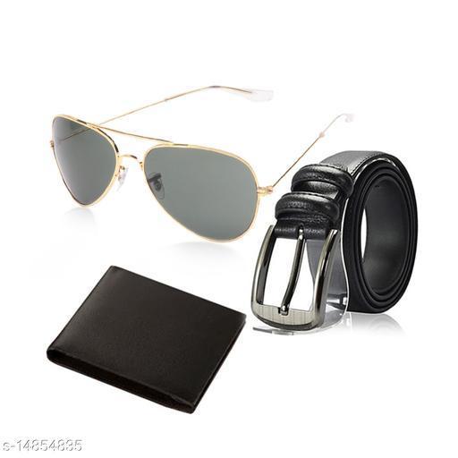 Random Mens Belt, Wallet and Golden Green Aviator Sunglass Combo (Black)