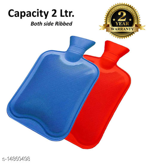 Inispire2Fashion Mycure Hot Water Bottle for Pain Relief Hot Water Bag with 2 ltr capicity (red) (pack of 2, blue & orange)