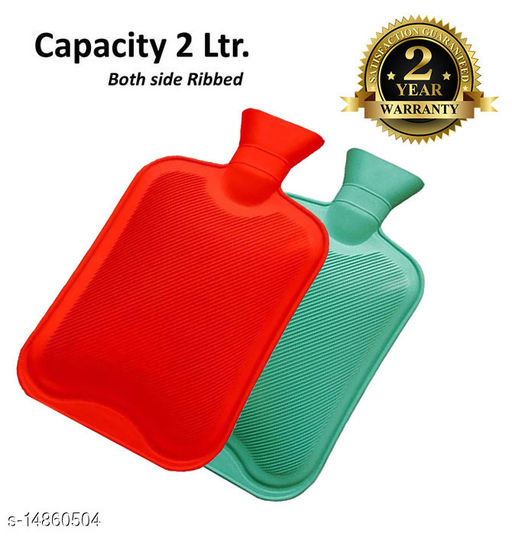 Inispire2Fashion Mycure Hot Water Bottle for Pain Relief Hot Water Bag with 2 ltr capicity (red) (pack of 2, green & orange)