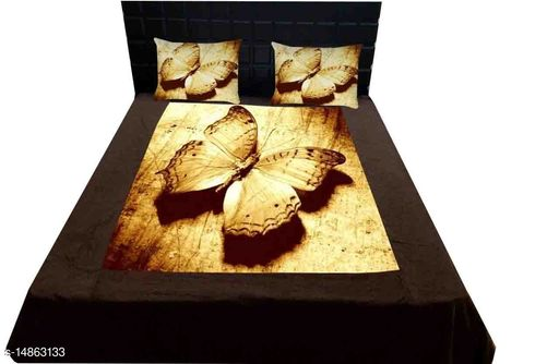 MODE ON Digital Print Soft Touch Velvet Double Bedsheet with Pillow Covers
