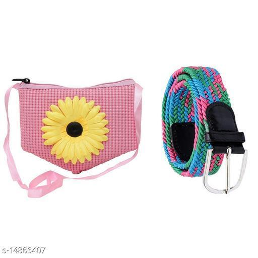Random Girls Combo of 1 Flower Design Sling Bag and 1 Stretchable Fabric Belt (Assorted)