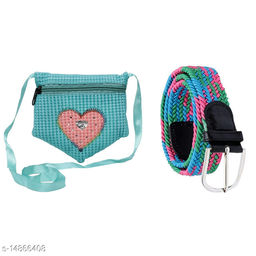 Random Girls Combo of 1 Heart Design Sling Bag and 1 Stretchable Fabric Belt (Assorted)