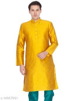 Vastramay Men's Gold Silk Blend Kurta
