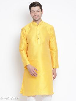 Vastramay Men's Yellow Silk Blend Kurta