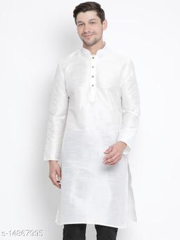 Vastramay Men's White Silk Blend Kurta
