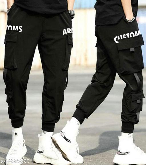 Streetwear HipHop Black Elastic Waist Punk Pant with Ribbons