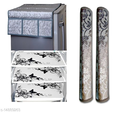 Royal Groki Combo of Exclusive Design Fridge Top Cover and 2 Handle Cover with 3 Fridge Mats (Silver, 6 Piece set)