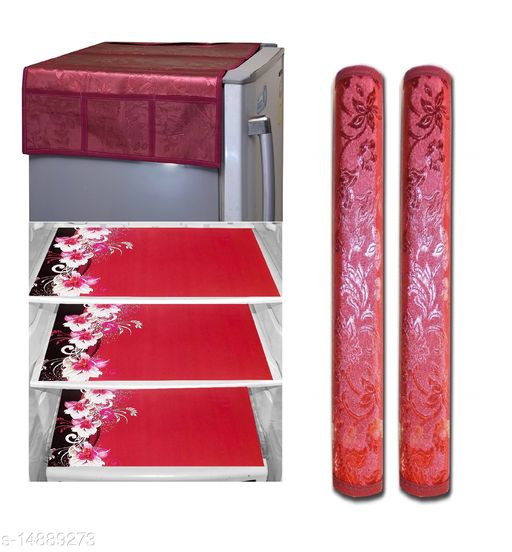 Royal Groki Combo of Exclusive Design Fridge Top Cover and 2 Handle Cover with 3 Fridge Mats (Red, 6 Piece set)