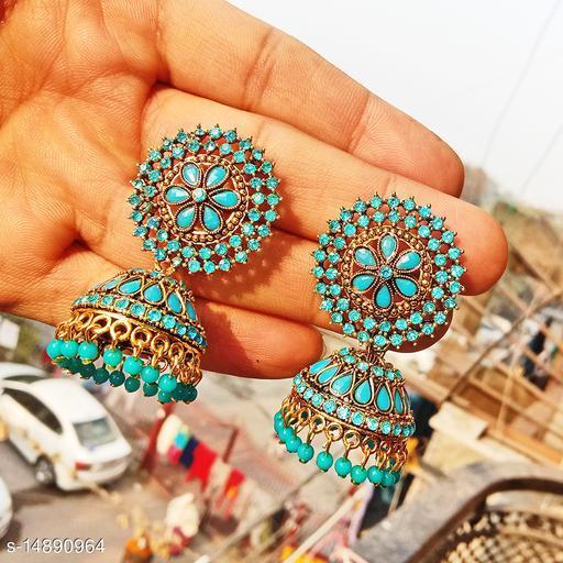 Party wear designer big Jhumka lightblue color jhumka earrings for women